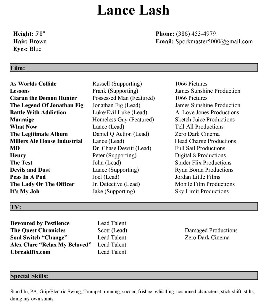 actor resume sample actors in avatar